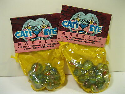 Vintage Cat's Eyes Marbles Larami Lot Of 2 40 Marbles 2 Shooters W/ Vinyl Pouch