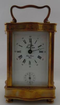 Vintage Antique Brass L'EPEE Carriage Clock W/Alarm - Working Order  (C18