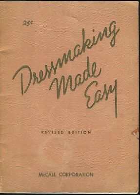 1943 Vintage Dressmaking Made Easy McCall Beginner Learn How To Sew Sewing Book