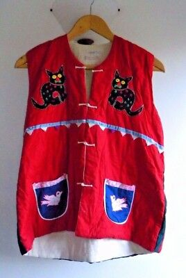 Vintage Ladies Chinese Decorative Hand Made Cotton Vest Cats Bird Geckos Size 18
