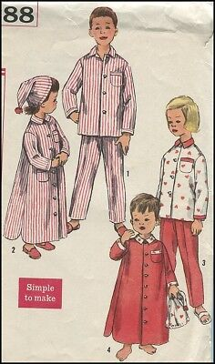 1950s Vintage Child's Nightshirt + Night Cap Pajama PJs Easy Sewing Pattern Sz 4