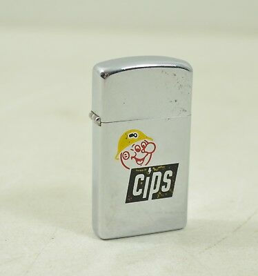 Vintage 1972 DEADSTOCK Slim High Shine Chrome CIPS Advertising  Zippo Lighter