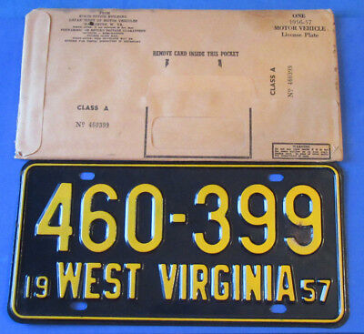 1957 West Virginia License Plates Tag  460-399 *Gorgeous* with Original sleeve
