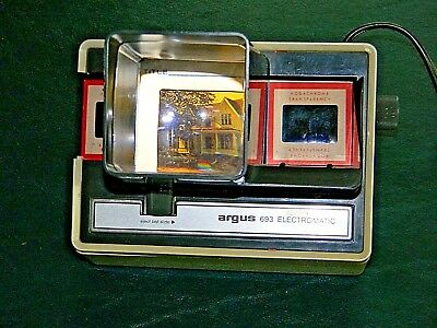 """Vintage Argus Slide 693 Electromatic Slide Viewer~35mm 2""""X2"""" Auto Advance~Tested"""