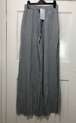 Zara Grey Wide Leg Palazzo Trousers With Velvet Side Bands Size UK S BNWT