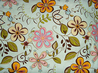 Handmade shower curtain large fabric piece pale blue with pink wildflowers girly