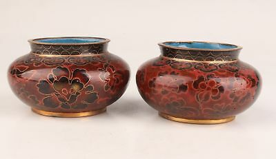 2 Chinese Antique Hand Carved Flower Ornament Jar Pot Cloisonne Collection