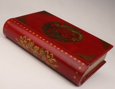 Red Leather Jewelry Box Dragon Phoenix Book Wedding Dowry Old Decorate