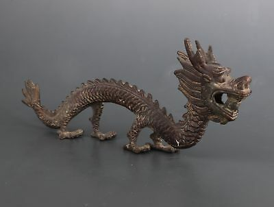 Big Rare Bronze Cast Mythical Dragon Animal Statue Old Collection