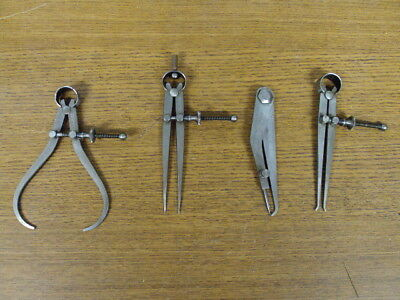 "Lot Of 4 Nice Starrett Calipers Dividers 4"" Inch"