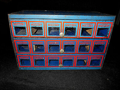 Vintage/old Mallory Electronic Metal Components Cabinet/chest
