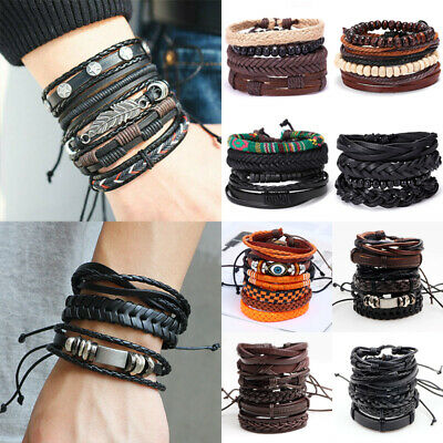 6pc Mens Punk Leather Wrap Braided Wristband Cuff Bracelet Bangle Boyfriend Gift
