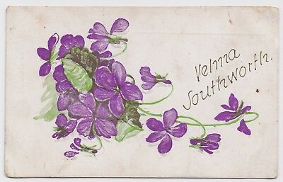 Antique Postcard - Embossed. Hand Painted Floral Card - Early 1900's