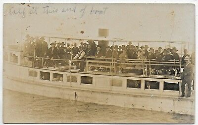 (#2972) Old RPPC  Crowd on Excursion Boat Ride  Corpus Christi Texas Bay ?