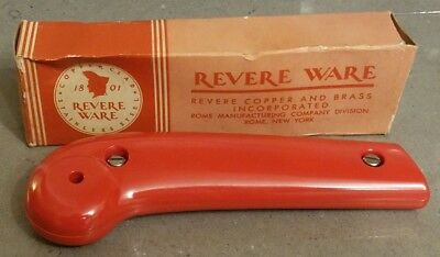 Rare Vtg Revere Ware new old stock New Style Bakelite Handle ORANGE/RED No. 621
