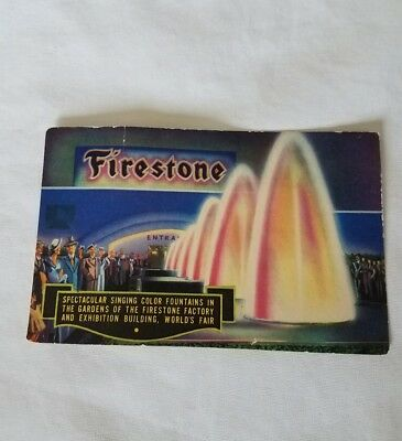Chicago 1933 World's Fair Firestone Singing Color Fountains Postcard Unstamped