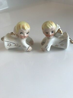 Reduced! Vintage Small Blond Angel Candle Huggers