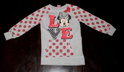 Disney Girls Minnie Mouse Glitter Bow Fall Long Sleeve Shirt Top Outfit 6 6X