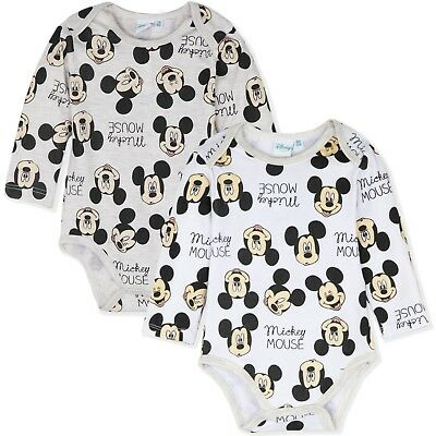 Disney Mickey Minnie Mouse Baby Boys Romper Gift Bodysuit 2-PACK Set 3-18 Mnts