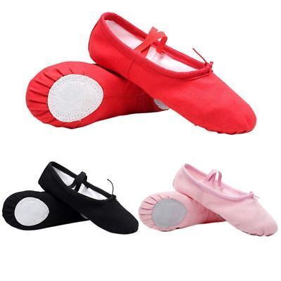Girl Baby Canvas Cotton Ballet Pointe Dance Shoes Gymnastics Slippers Yoga Flats