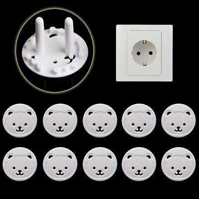 10Pcs Power Kid Socket Cover Baby Child Protector Guard Mains Point Plug Bear E5