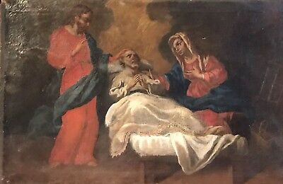 Fine Large 18Th Century Italian Old Master Oil Painting - The Death Of Joseph