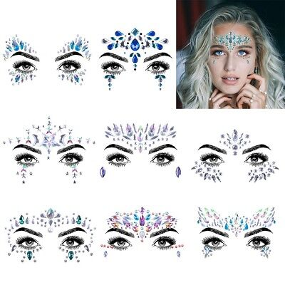 Face Gems Multi Color Body-Glitter Adhesive Rhinestone Temporary Tattoo Sticker