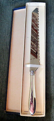 Vintage Sterling Silver Handle Cake Bread Pie Knife Serrated Original Box