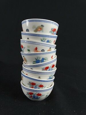 8 Chinese Porcelain Chicken Cups with Spurious Chenghua Reign Marks China 20thC