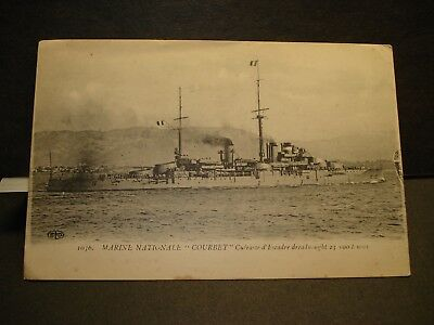 FRENCH WWI DREADNOUGHT BATTLESHIP COURBET Naval Cover unused postcard FRANCE