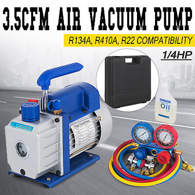 3,5CFM 1/4hp Air Vacuum Pump HVAC Refrigeration AC Manifold Gauge Set R134a Kit