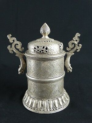Vintage Chinese Ornate Molded White Copper Lidded Pot Spurious Qianlong Mark
