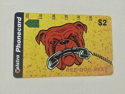 $2 Telstra Red Dog Beer complimentary collectors Phonecard Mint Condition