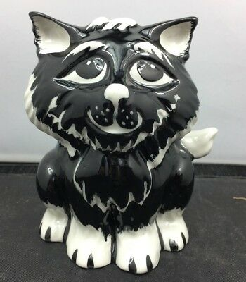 Lovely Very Rare Signed Lorna Bailey Black and White Cat Figurine A29