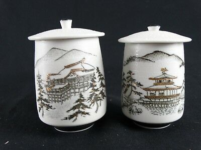 Pair Signed Japanese Studio Pottery Architectural Mountain Scene pots 22k Gold