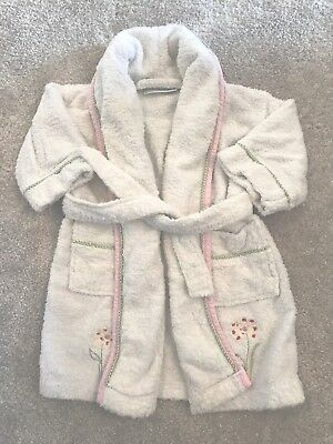 Baby Girl The Little White Company Dressing Gown Bath Robe Age 18-24 Months