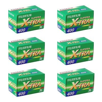 6 Pack Fuji Superia X-TRA 400 ASA 135-36 35mm Colour Print Film - Extra Value!