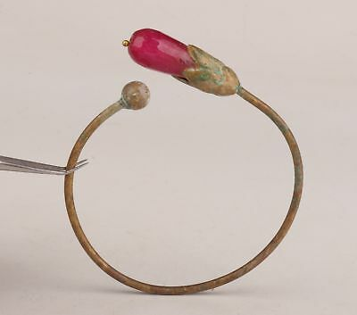 Bronze Old Rare Red Magnolia Huadiao Like Bracelet Gift Chinese Collection