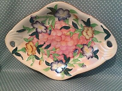 Maling Pottery Godetia pink lustre ware tube lined decorative dish. Patt. 6552.