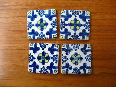 """4 vintage Mexican ceramic Tiles 3 7/8"""" cobalt blue and Yellow Mexico red clay"""