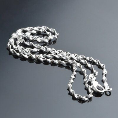 2mm Silver Plated Double Water Wave Chain Necklace Pendant 16-24 Women Men