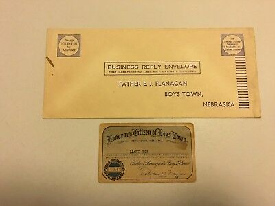 Vintage 1949 Honorary Citizens Card & Envelope - Boys Town - Father Flanagan's