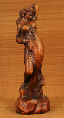 Big antique Old Boxwood wood Chinese Hand Carved belle Statue home decoration