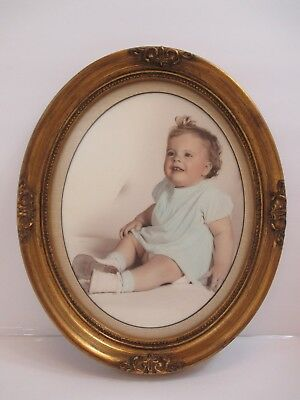 Ornate Gold Round Oval Frame w/Vintage Baby Girl Picture In It Burlap Look Mat