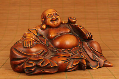 Big antique Old Boxwood wood Chinese Hand Carved tibet Buddha Statue home deco