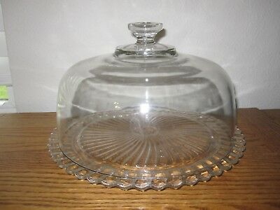 VINTAGE GLASS Footed CAKE STAND WITH DOME COVER - SCALLOPED EDGES SWIRL PLATE