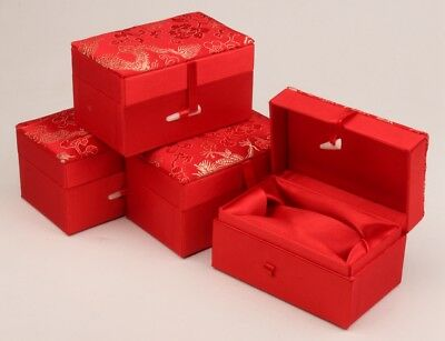 4 Vintage Red Silk Cloth Jewelry Box Upscale Decorative Collection Protected