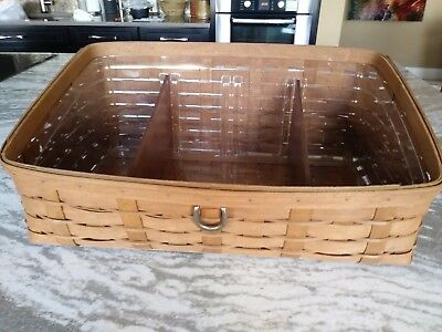 Longaberger Rich Brown Largest Sort & Store Basket w/prot/dividers FREE SHIPPING