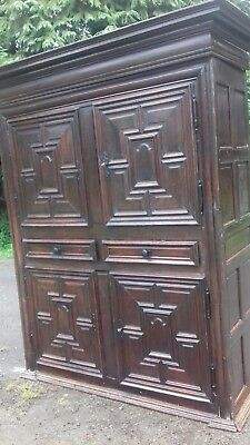 Huge Early 19Thc French Antique Oak Cupboard & Keys From A Seine Valley Chateau