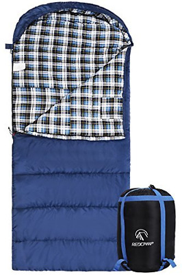 REDCAMP Cotton Flannel Backpacking Sleeping Bag for Adults Camping Envelope Blue